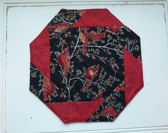 Table Topper with red cardinals, berry sprigs, quilted