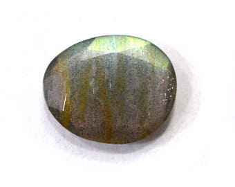 Labradorite Natural Labradorite Rose Cut Polki Both Side Faceted 4.90 cts 12.5x15 mm For Designer Jewelry 3952