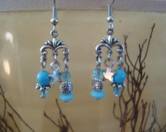 Original and dangling earrings light blue and silver
