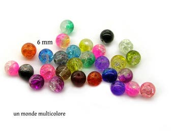 20 round multicolored 6 mm Crackle glass beads