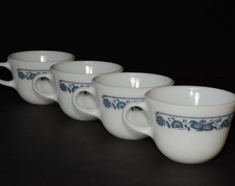 PYREX, Old Town Blue Mugs/Blue Onion Coffee/tea cups - Set of 4, C handle, Tea Cups, Milk glass, Vintage