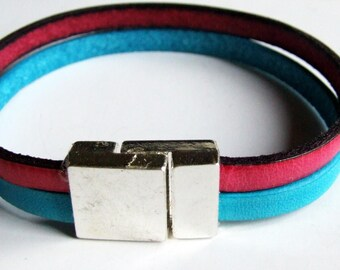 Leather Bracelet 5mm turquoise and pink beautiful magnetic clasp