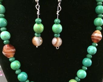 necklace and earring set in greens and beige   tropical colorful