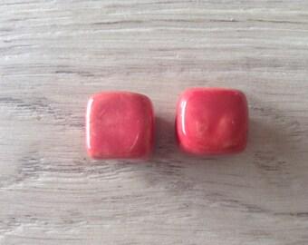 cubes are ceramic red color