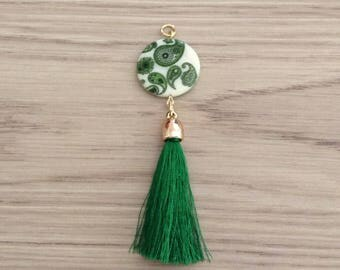 Dark green tassel and Pearl pendant