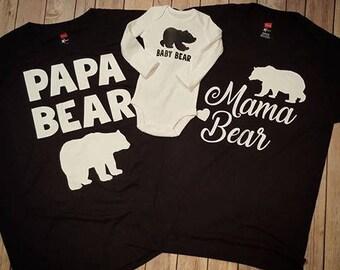 Mama Bear/Papa Bear/Baby Bear Tshirt Bodysuit/Heat Transfer Shirts/Unisex Shirts/Hospital Family Set/Bear Shirts/Sale Shirts/Sets/Siblings