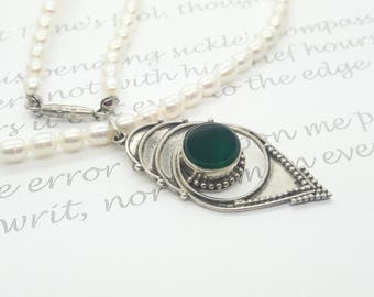 Green Onyx Sterling Silver Pendant and Fresh Water Pearl Necklace/Vintage/ Handmade/Free Shipping US/ Valentine/Christmas/Birthday