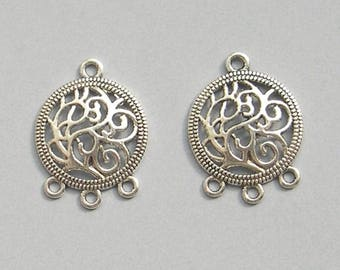 10 FILIGREE CHANDELIERS connectors in silver for earrings and jewelry