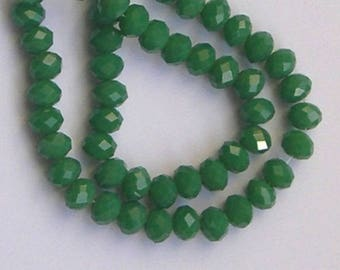 NACKLACE WITH 10 GREEN RONDELLES 6 X 5 MM GLASS BEADS