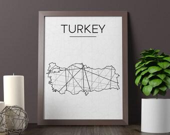 Turkey Map, Turkey Wall Art, Turkey Art, Turkey Poster, Turkey Room Decor, Turkey Print, Turkey Printable, Instant Download