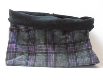 Snood adulte tartan violet et gris et polaire réversible