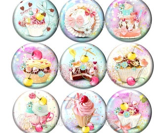 Set of 15 cabochons 18mm glass, cakes, ice cream, sweets, pastel tone ZC113