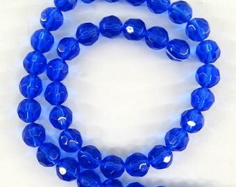 glass faceted 8 mm blue pvc041 38 beads