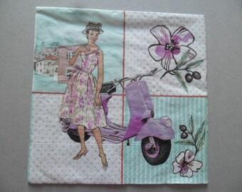 x 1 serviette en papier motif femme au scooter 33 x 33 cm