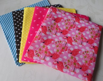 50 x 50 cm 5 mixed coupons various batch A patterned cotton fabric