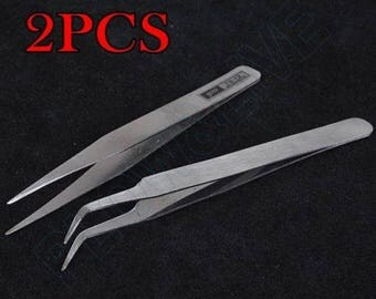 x 2 pliers/tweezers tweezers straight/curved point precision 11.2 cm stainless steel