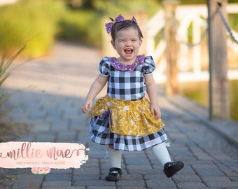 Girls Fall Skirt in Plaid and Yellow- Baby Girl and Big Girls