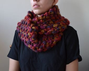 Extra Chunky Scarf in FALLING LEAVES - circle scarf, infinity scarf, oversized scarf, fall scarf, winter scarf