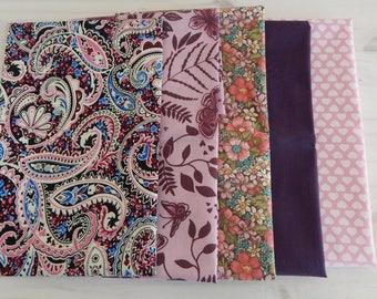 Fat Quarter Mini Bundle, Quilting fabric, Cotton fabric, pink fabric, purple fabric