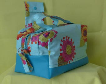 Vanity toiletries, makeup or lunch bag, fabric coated flowers and faux turquoise