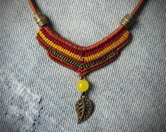macrame necklace, handcrafted, leather cord necklace, gemstone bead, metal beads