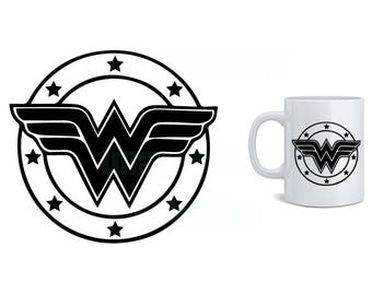 WONDER WOMAN logo (svg, dxf, png, eps, jpg) Download instantly! vector clip-art images for cricut silhouette
