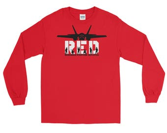 Red Friday Long Sleeve F-35 Aircraft Remember Everyone Deployed