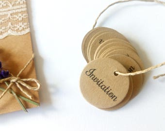 "20 round tags punched kraft ""Invitation"" or personalized message"