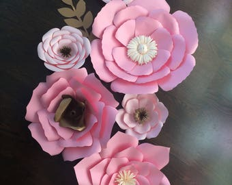 Paper flowers set of 6