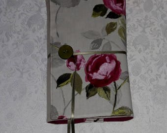 "Book adaptable larger, ""Roses anciennes"" fabric on ivory background and beige cotton, linen fuchsia lining"