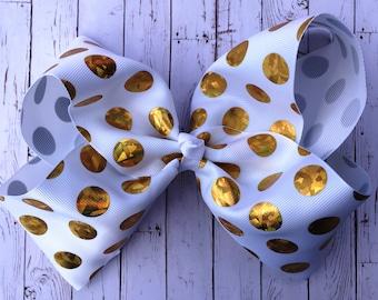 Gold Polka Dot - JoJo Style Hair Bow