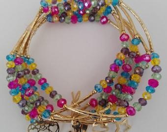 18k gold plated and crystal bracelet