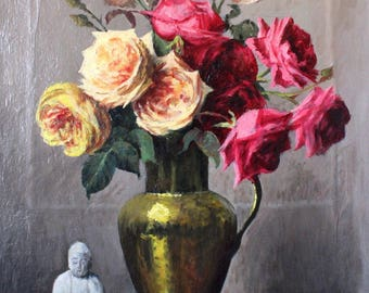 19th Century Original Oil Painting Still life Flowers in vase, FlowersOil Painting,