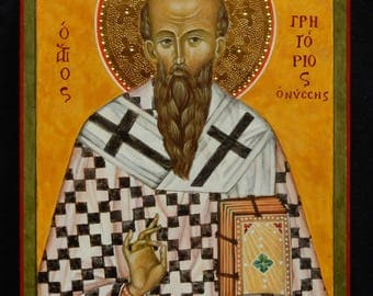 Icon of St. Gregory-Hand-painted on Linden table