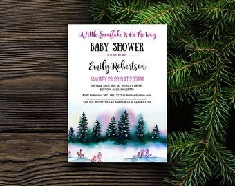Forest Baby Shower Invitation A Little Snowflake Is On The Way Invitation Editable Winter Purple Green Baby Shower Printable Invite Template