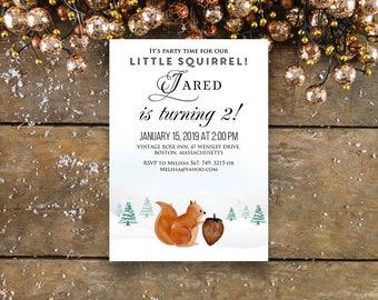 Squirrel Birthday Invitation Winter Woodland Birthday Invitation Printable Baby Birthday Party Invites Watercolour Forest Animal Bday Invite