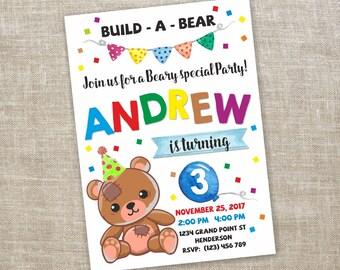 Build a bear invite etsy teddy bear invitation build a bear party invitation build a bear birthday printable filmwisefo Images