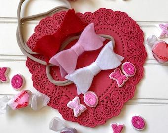 Valentine's Day Mini Bow Set - 3 headbands/felt bow headband/nylon headband/little girl hair/toddler hair bow/baby shower gift/baby hair bow