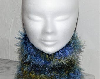 Blue multicolor hand made hair collar wool size 4/6 years