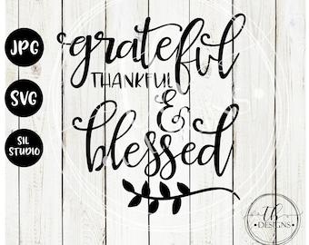 Fall SVG, Autumn Svg, Grateful Thankful Blessed SVG, Fall Cut File, wood sign svg, Silhouette SVG, Cricut Svg, Thanksgiving Svg, Blessed svg