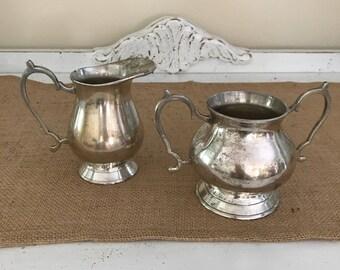 Vintage silver plate sugar & creamer set