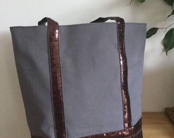 Glitter tote bag and wallet matching taupe gray
