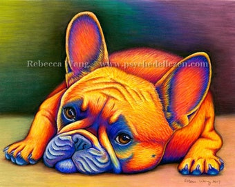Colorful French Bulldog Rainbow Dog Pet Portrait Original Pastel Drawing