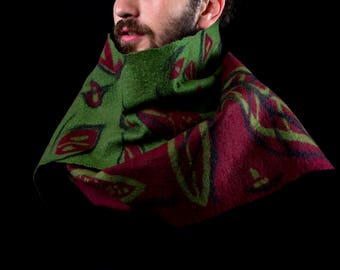 Tabac - Unisex felted scarf - Wool and silk