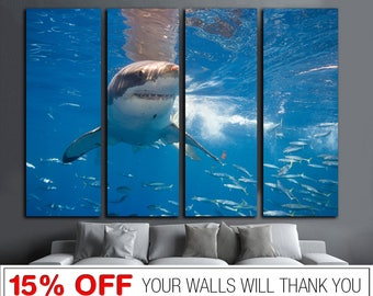 Great White Shark, White Shark canvas, Shark canvas, Sea Life canvas, Shark Wall Art, Shark Print, Shark Wall Decor, Shark, White Shark art