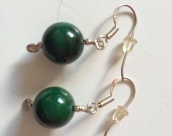 Malachite 925 Silver earrings