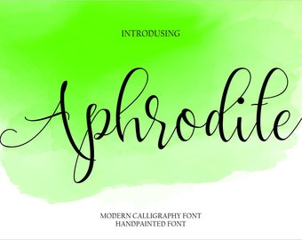 Calligraphy Font Handwritten Script Wedding Watercolor Instant Download - Aphrodite Font