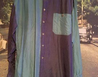 Vintage mens medium silk button up long sleeve shirt.