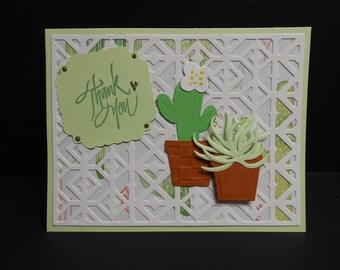 Handmade Cactus Thank You Card
