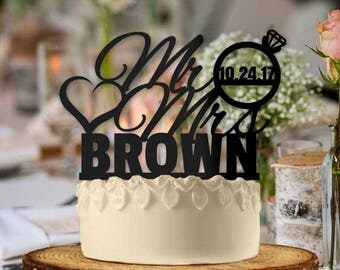 Personalized Mr and Mrs hearts with Ring Wedding Cake Topper